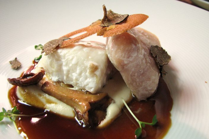 Braised halibut with port reduction